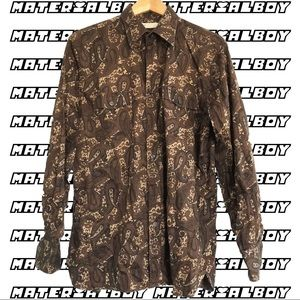 BROWN PAISLEY PRINT SHIRT by Perry Ellis 🥶⚡️